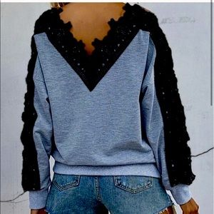 blue w/black lace adornment sweatshirt